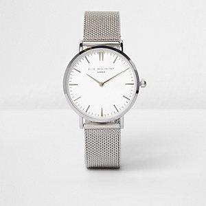 Silver tone Elie Beaumont mesh strap watch