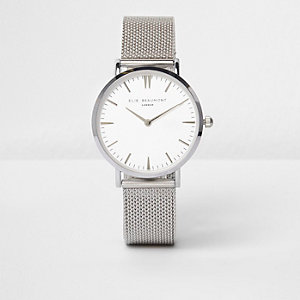 Silver tone Elie Beaumont mesh strap watch