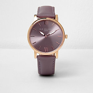Purple Elie Beaumont leather strap watch
