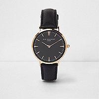 Elie Beaumont – Schwarze Armbanduhr aus Leder