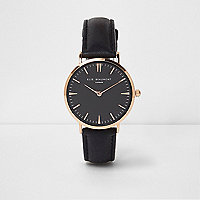 Black Elie Beaumont leather strap watch