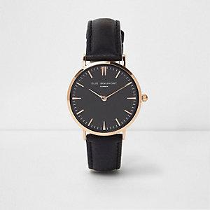 Black Elie Beaumont leather strap watch
