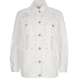 Veste en jean oversize blanche déchirée