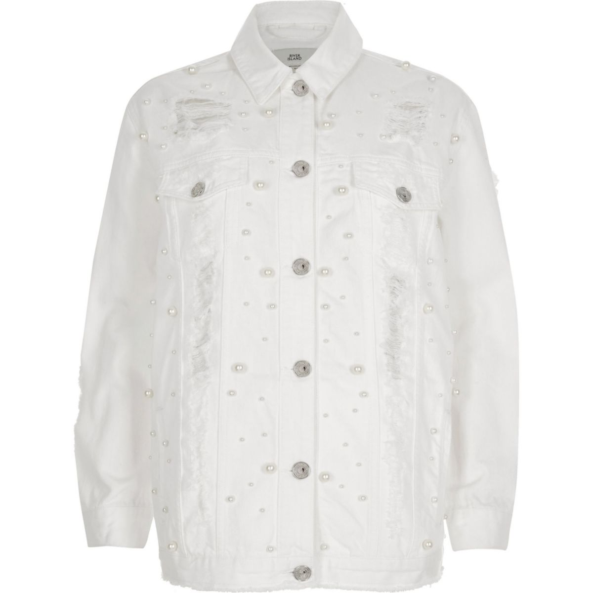 White peal ripped oversized denim jacket