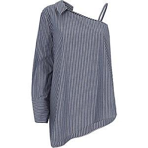 Marineblauw overhemd met één schouder en strepenprint
