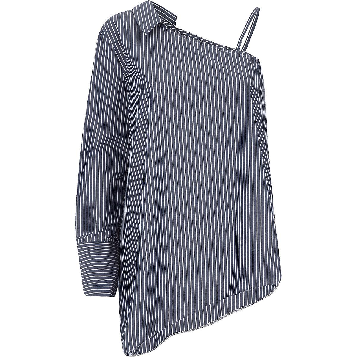 Navy stripe print one shoulder shirt