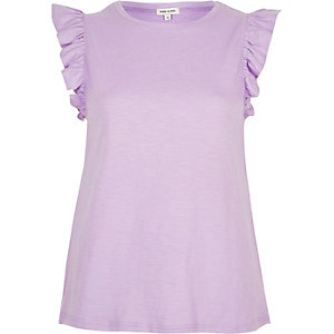 Light purple frill sleeve tank top