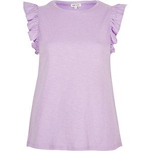 Light purple frill sleeve tank top