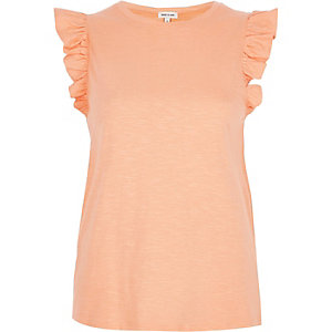 Coral frill sleeve tank top