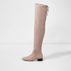 Light beige faux suede over the knee boots