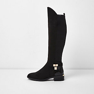 Black knee high riding boots