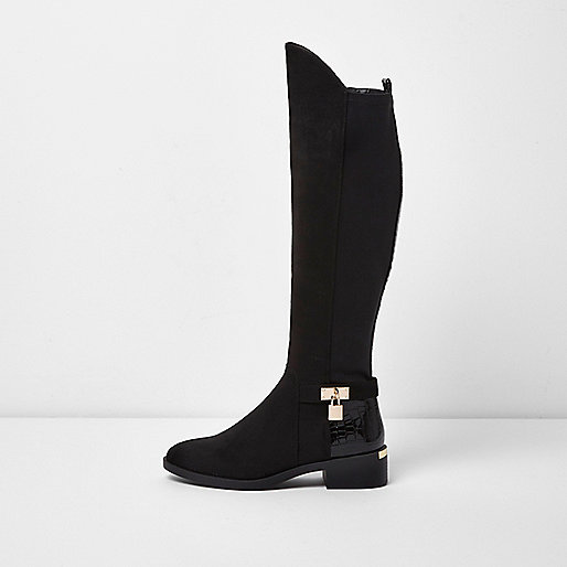 Black Suede Block Heel Knee High Boots River Island
