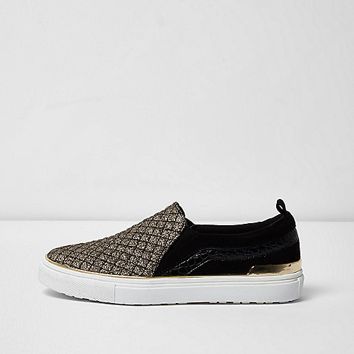 Black glitter slip on plimsolls