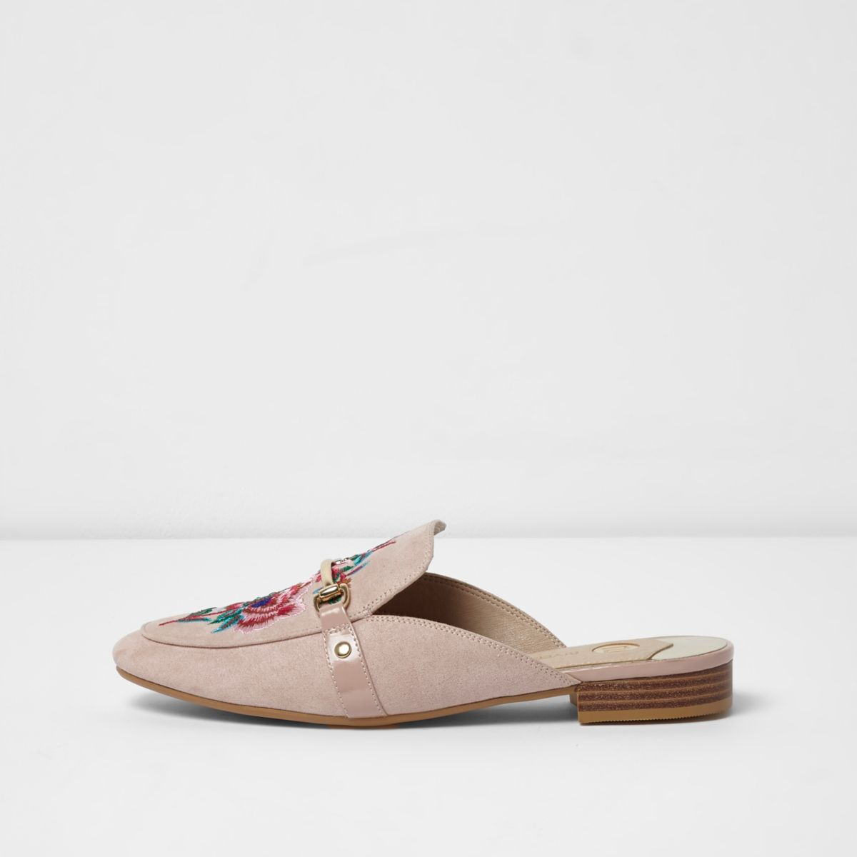 Light pink embroidered backless loafers