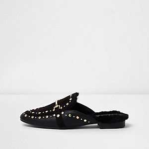 Black studded backless loafer