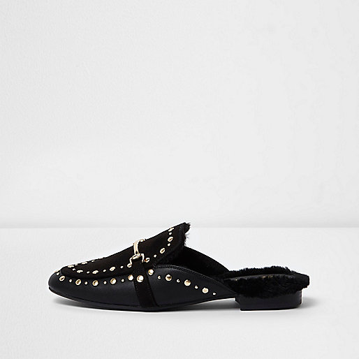 Black studded backless loafer