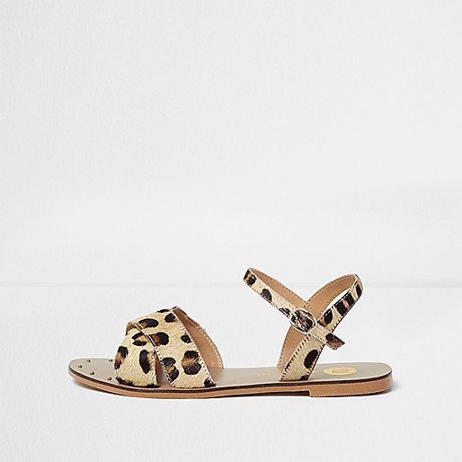 Brown leopard print leather sandals