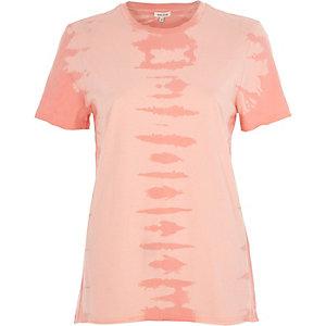 Pink tie dye raw edge T-shirt