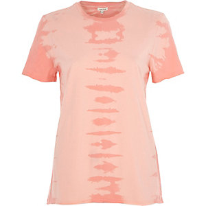 T-shirt tie and dye rose à bords bruts