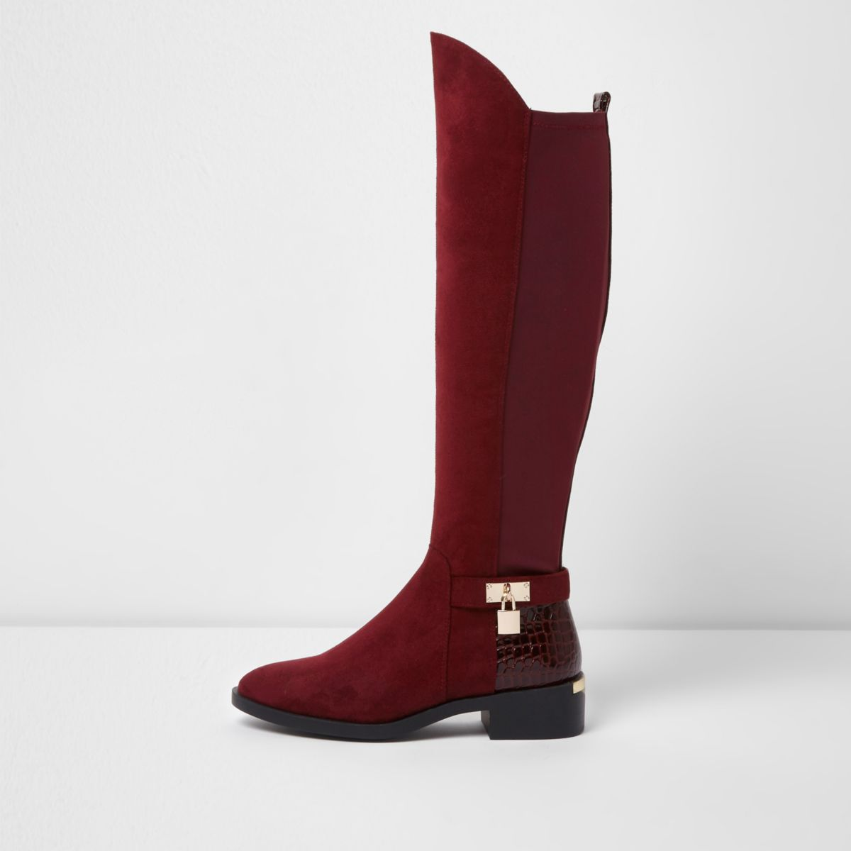 Dark red knee high riding boots