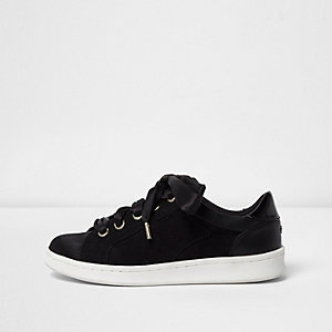 Black ribbon lace-up trainers
