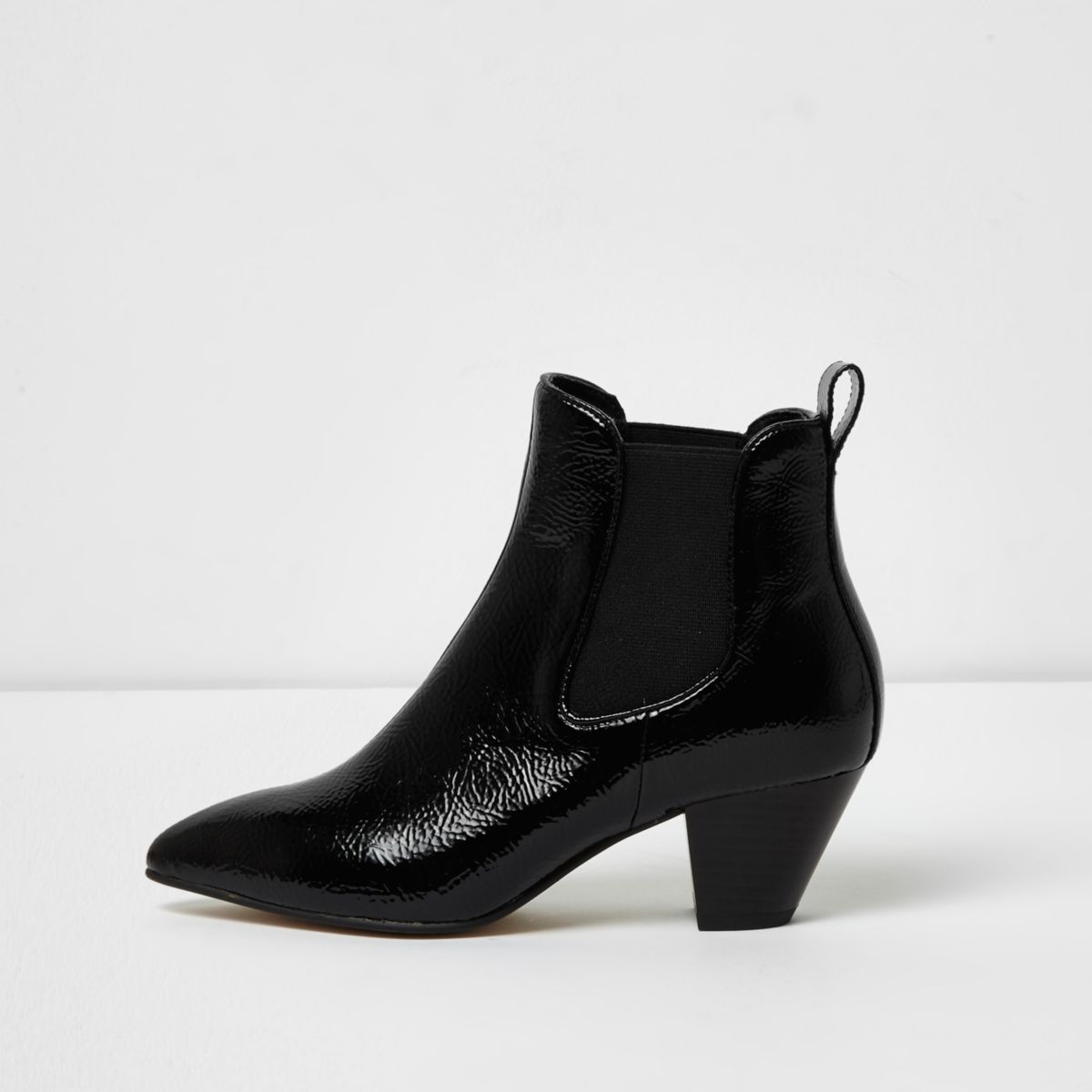 Black patent western ankle boots