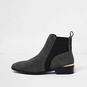 Grey suede gold trim chelsea boots