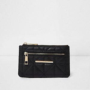 Kleine zwarte gewatteerde portemonnee