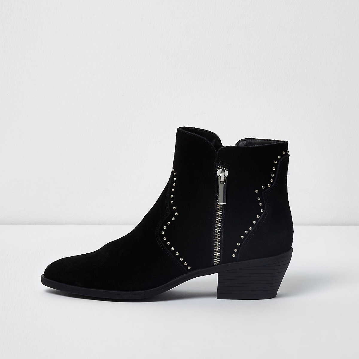 Black studded western suede ankle boots