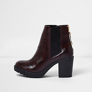Dark red croc embossed ankle chelsea boots