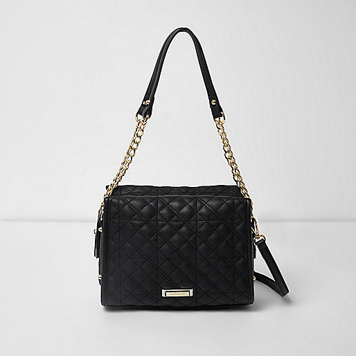 Black quilted chain mini tote bag