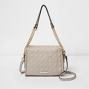 Grey quilted mini chain tote bag