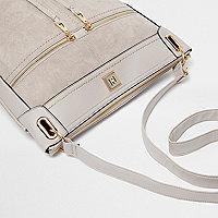 Grey zip front cross body messenger bag