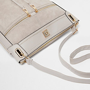 Grey zip front cross body messenger bag
