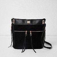 Black zip pocket messenger bag