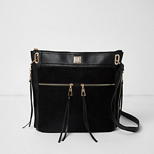 Black zip pocket messenger bag