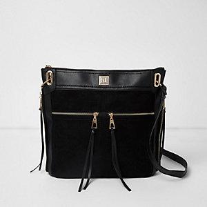 Zwarte messengertas met rits en zak