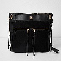 Black oversized zip front messenger bag