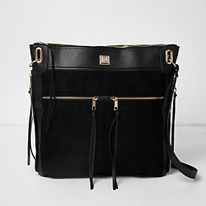 Black oversized zip front messenger bag