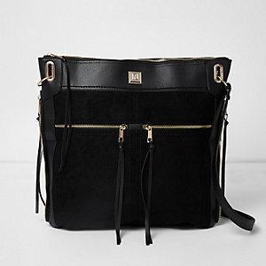 Besace noire oversize zippée sur le devant