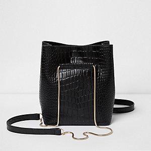 Mini sac seau en cuir effet croco noir avec chaîne