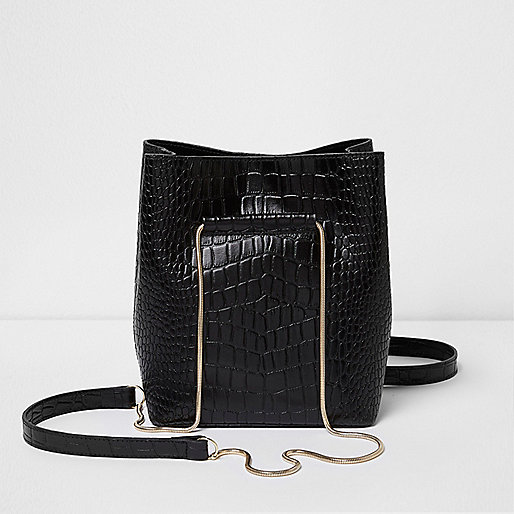 Black croc leather mini chain bucket bag