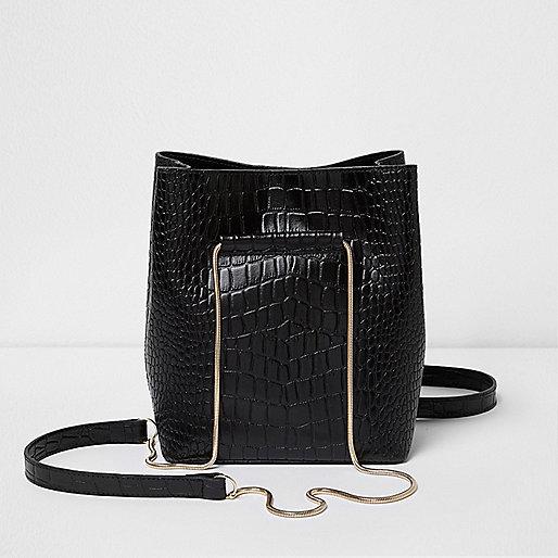 Black croc leather mini chain bucket bag