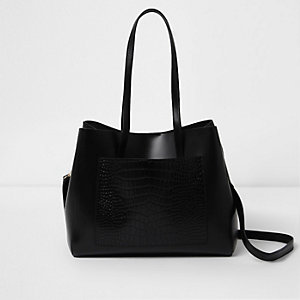 Black leather croc embossed winged tote bag