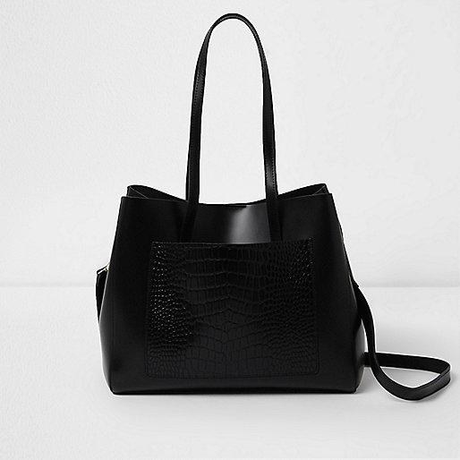 Black leather croc embossed winged tote bag