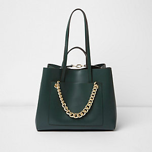 Dark green leather chain winged tote bag