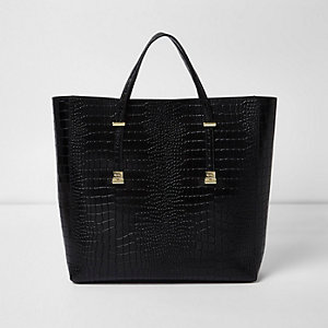Black croc embossed leather tote bag