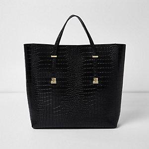 Tote Bag aus Leder mit Krokoprägemuster