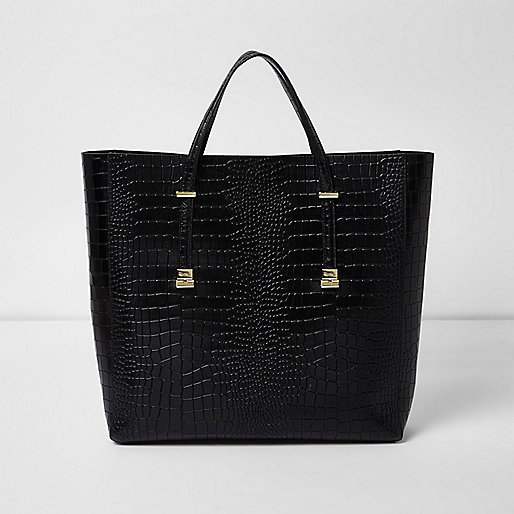 Zwarte leren handtas met krokodillenprint en reliëf