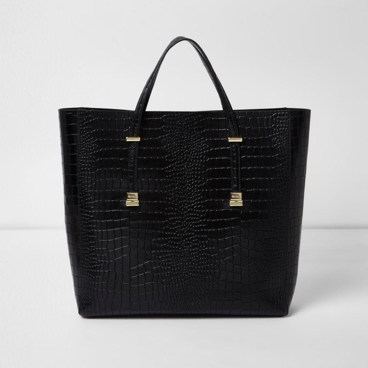 Black croc embossed leather tote bag